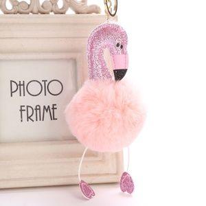 Accessories - Glitter Flamingo Pom Pom Handbag Charm/Keychain